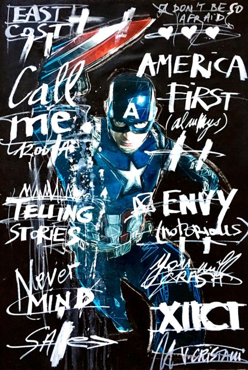 AMERICA FIRST - Painting,  70x100 cm ©2017 by VERO CRISTALLI -                                                            Street Art (Urban Art), Canvas, Pop Culture / celebrity, CAPTAIN AMERICA