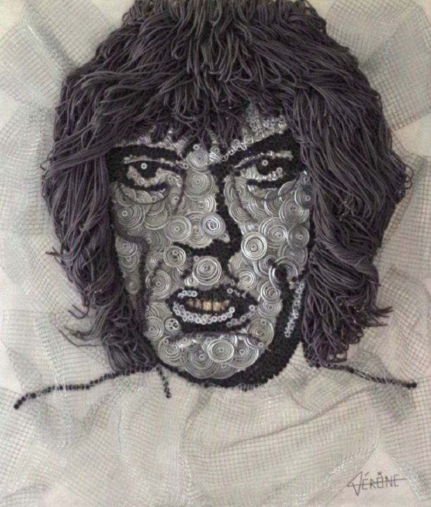 Métal Jagger - Sculpture,  27.6x23.6x3.9 in, ©2017 by Vérône -                                                                                                                                                                                                                                                                                                                                                                                                                                                                                                                              Metal, Celebrity, Mick Jagger, Rolling Stones, recyclage, métal, art, déchet, recyclable, pixel, art optique