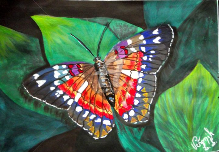 morpho de couleurs papillons de guyane sur papier aquarelle en acrylique et v ronik. Black Bedroom Furniture Sets. Home Design Ideas