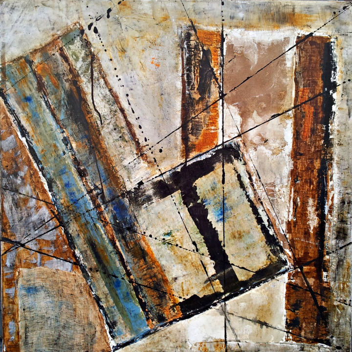 Convergences Collection privée - Peinture,  31,5x31,5x1 in, ©2013 par Véronique Attia -                                                                                                                                                                                                                                                                                                                                                                                                          Abstract, abstract-570, Architecture, Art abstrait, lignes, abstrait, composition, topographie