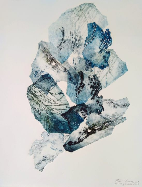 Fontes glaciaires - Printmaking,  15.8x11.8 in, ©2019 by Véronique ATTIA -                                                                                                                                                                                                                                                                                                                                                              Abstract, abstract-570, Nature, Glaciers, Montagne, Banquise, Fontes