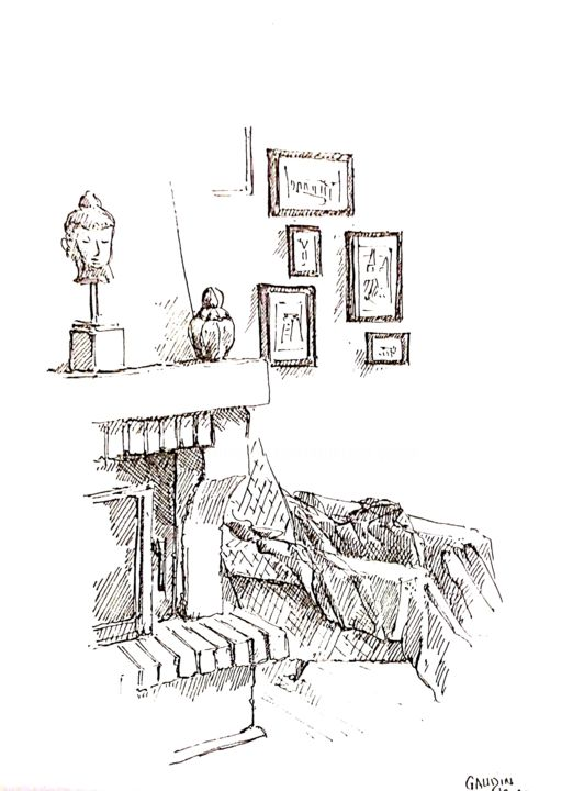 Au coin du feu - Drawing,  9.1x7.1 in, ©2020 by veronique gaudin -