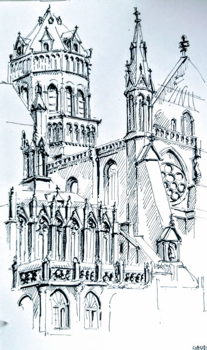 Strasbourg, la cathédrale - Drawing,  9.1x5.9 in, ©2020 by Veronique Gaudin -                                                                                                                                                                                                                      Figurative, figurative-594, Architecture, Cityscape