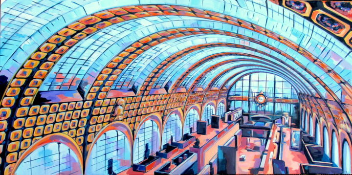 musée d'Orsay #artistsupportpledge - Painting,  19.7x39.4x0.4 in, ©2016 by Veronique Gaudin -                                                                                                                                                                                                                                                  Interiors, musée, intérieurs, verriere, orsay