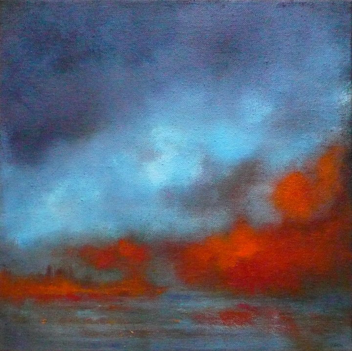 Blue Orange And Peace Painting 50x50x2 Cm 2016 By Véronique Heim