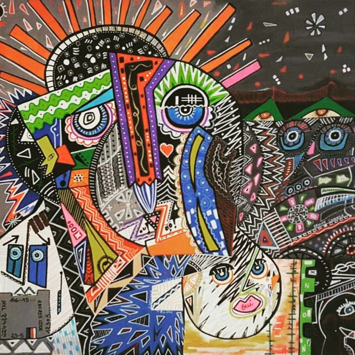 New York - Painting,  17.7x23.6x0.8 in, ©2018 by Véronique Pinault -                                                                                                                                                                          Outsider Art, outsider-art-1044, artwork_cat.Cities