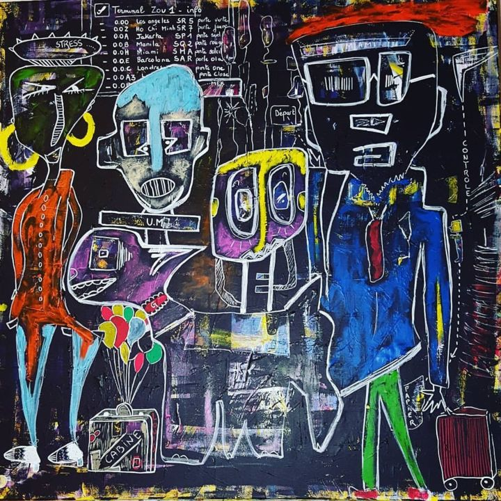Les voyageurs - Painting,  31.5x31.5x2 in, ©2017 by Véronique Pinault -                                                                                                                          Outsider Art, outsider-art-1044