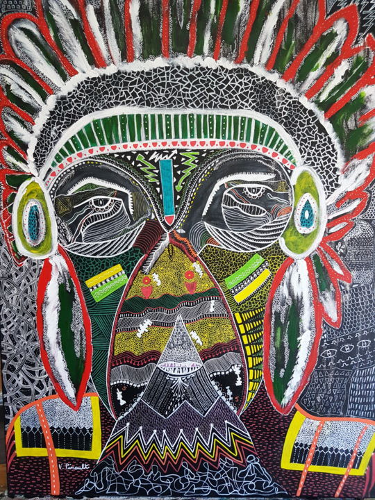 Diego - Painting,  23.6x31.5x1.2 in, ©2018 by Véronique Pinault -                                                                                                                          Outsider Art, outsider-art-1044