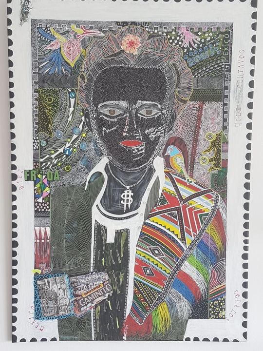 Frida black - Painting,  39.4x27.6x0.8 in, ©2020 by Véronique Pinault -                                                                                                                          Outsider Art, outsider-art-1044