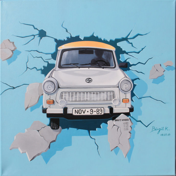 Trabant - Painting,  23.6x23.6x0.8 in, ©2019 by Véronique Colin -                                                                                                                                                                                                                                                                                                                                                                                                                                                                                                                                                                                                                                                                                                                                                                              Figurative, figurative-594, Cotton, Canvas, Automobile, Colors, Pop Culture / celebrity, Graffiti, Light, trabant, berlin, graffiti, voiture, chute du mur, kinder, bleu