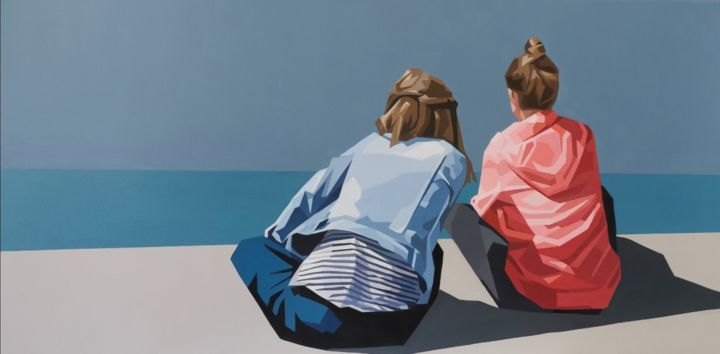 Il faut que je te dise -  I have to tell you - Painting,  19.7x39.4x0.8 in, ©2020 by Véronique Colin -                                                                                                                                                                                                                                                                                                                                                                                                                                                                                                                                                                                                                                      Figurative, figurative-594, Colors, Kids, Family, Women, Geometric, Hardedge, Mer, Horizon, Ciel orageux, Peinture contemporaine, Sweet capuche