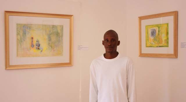 Bashwa at the entrance with works - Painting, ©2010 by Veryan Edwards -