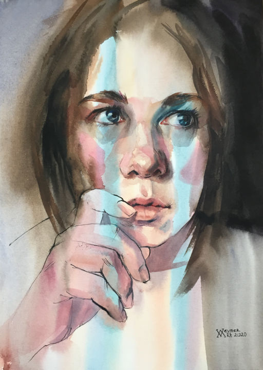 """Painting titled """"Portrait of a girl.…"""" by Natalia Veyner, Original Art, Watercolor"""