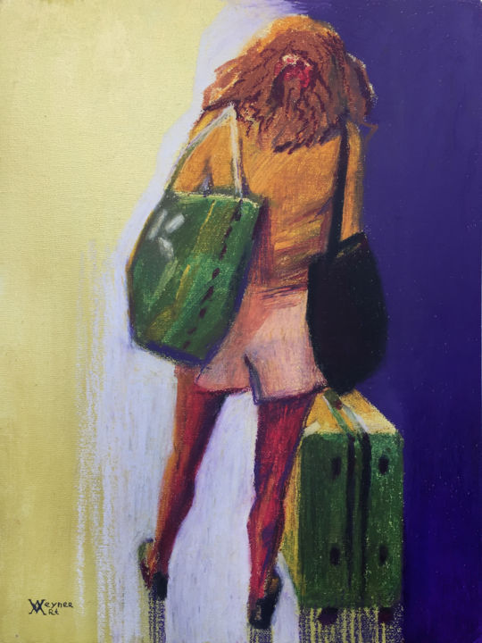 """Painting titled """"Tourist. Girl in th…"""" by Natalia Veyner, Original Art, Pastel"""