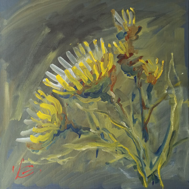 """Painting titled """"Series SUNFLOWERS o…"""" by Volodymyr Glukhomanyuk, Original Art, Oil Mounted on Stretcher frame"""