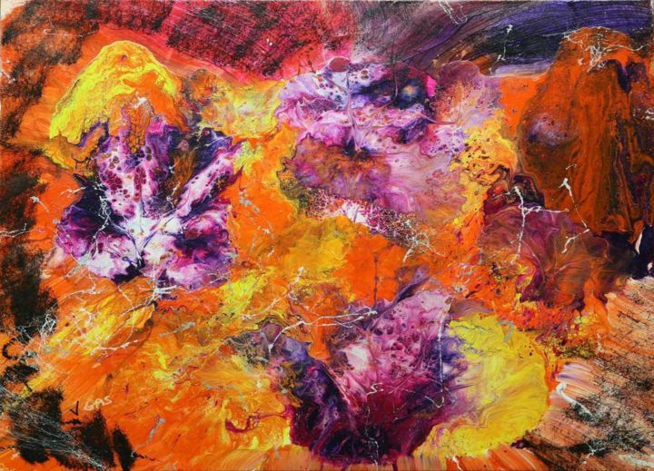 Lever de soleil à Rio - Painting,  31.5x31.5x1.6 in, ©2018 by Vgas -                                                                                                                                                                                                                                                                                                                                                                                                                                                                                                                                                                                          Abstract, abstract-570, Colors, Flower, couleurs, lever de soleil, rio, violet, jaune, orange, rouge, fleurs