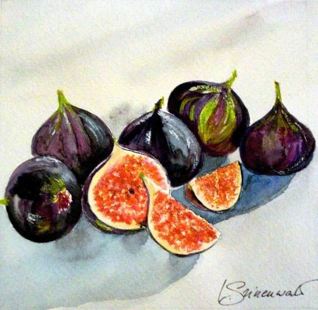 figues - Painting,  12x12 cm ©2009 by Véronique Grinenwald -