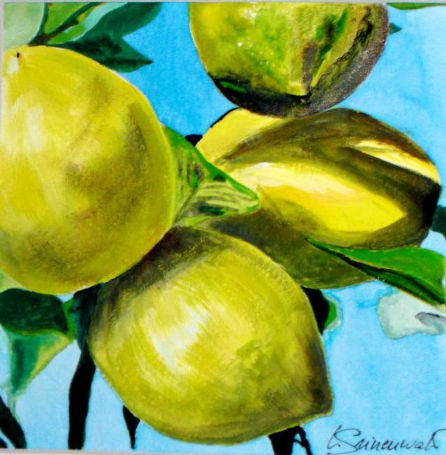 Citrons - Painting,  4.7x4.7 in, ©2010 by Véronique Grinenwald -
