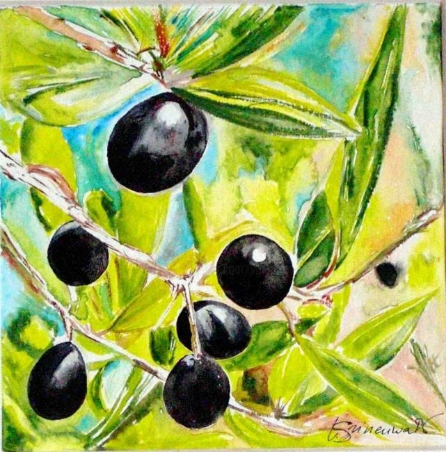 Olives - Painting,  12x12 cm ©2009 by Véronique Grinenwald -