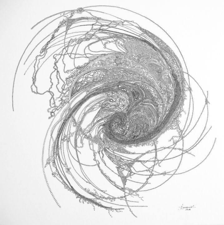 Autour du monde - Drawing,  40x40 cm ©2016 by Véronique Grinenwald -                        Paper