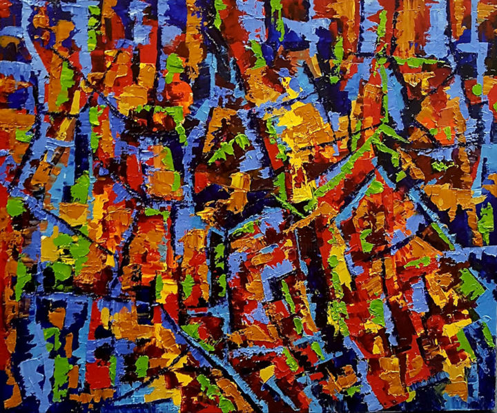 """Painting titled """"Riopelle Re-Visited…"""" by Vickie Martin, Original Art, Oil"""