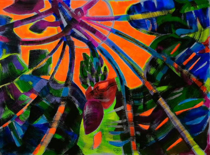 """Drawing titled """"Tropical violence.…"""" by Victoria Golovina, Original Art, Acrylic"""