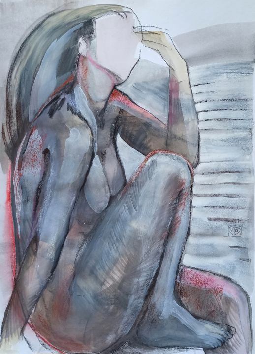 """Drawing titled """"Reality without you…"""" by Victoria Golovina, Original Art, Gouache"""