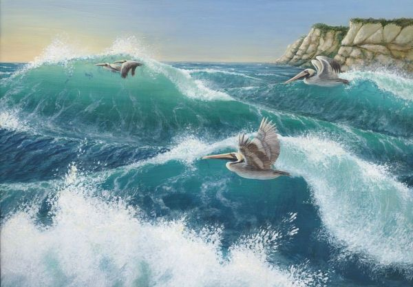 Surf's Up! Pelicans at Point Reyes - Painting,  19x25 in, ©2007 by Victoria Armstrong -