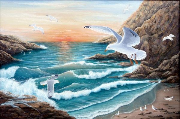 Soaring at Sunrise - Painting,  24x36 in ©2009 by Victoria Armstrong -            Acrylic, seagulls, seascape, coast, sunrise, waves, gulls, beaches, cliffs, birds