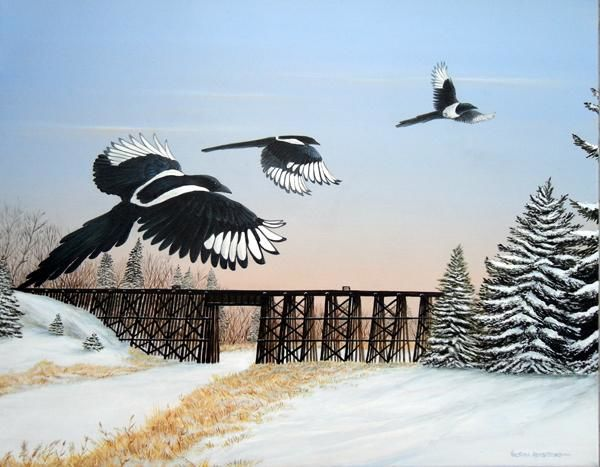 Bridging the Sturgeon - Painting,  16x20 in ©2010 by Victoria Armstrong -                            Realism, magpies flying over the sturgeon river at dawn in the winter with the train trestle bridge in the background