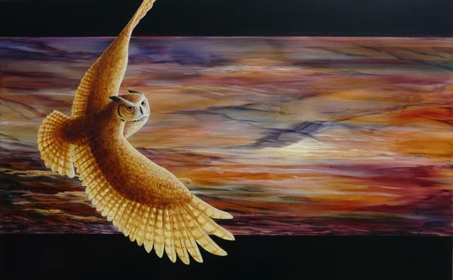 Dawn Rising - Painting,  30x48 in, ©2011 by Victoria Armstrong -                                                                                                                                                                                                                                                                                                                                                                                                                                                                                                                                          Figurative, figurative-594, Great Horned Owl, owls, dawn, sunrise, flight, flying, crimson, sky, feathers. light
