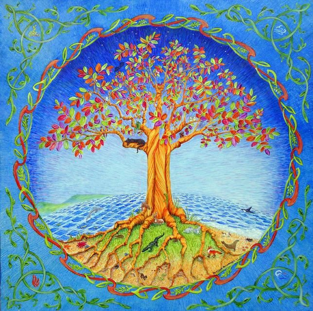 The Tree of Life - Painting,  24x24 in, ©2012 by Victoria Armstrong -                                                              tree of life earth  wildlife animals creation