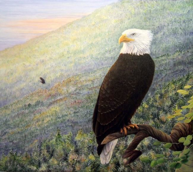 Can You Hear It In The Wind? - Painting,  28x31 in ©2012 by Victoria Armstrong -            Bald Eagle sitting on an aspen branch in the mountains at sunset