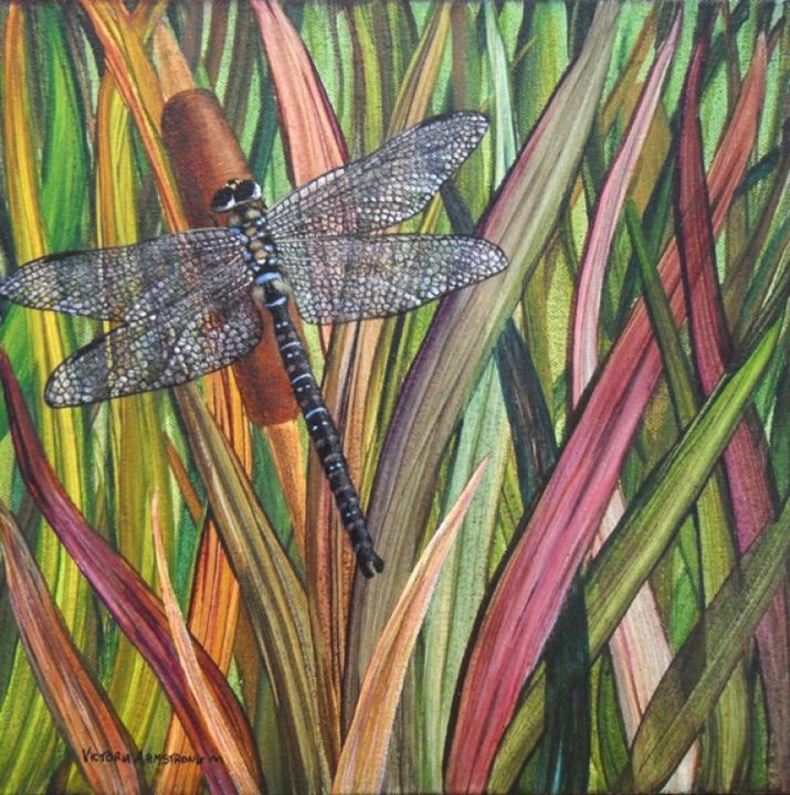 Dragonfly I - Painting,  12x12 in, ©2012 by Victoria Armstrong -                                                                                                                                                                          Figurative, figurative-594, dragonfly in bull rushes