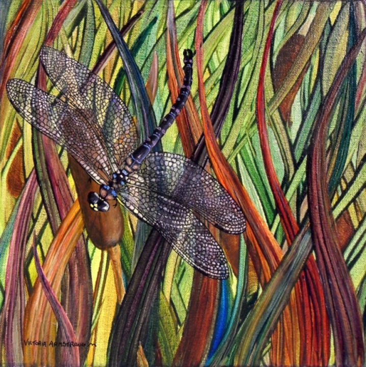 Dragonfly II - Painting,  12x12 in ©2012 by Victoria Armstrong -                            Realism, dragonfly in bullrushes