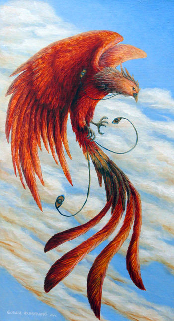 Phoenix Rising - Painting,  21x12 in ©2013 by Victoria Armstrong -            phoenix, bird, rising, fantasy, acrylic painting