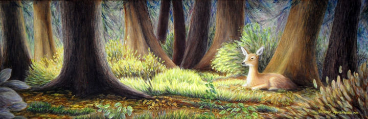 Sanctuary - Painting,  8x24 in ©2013 by Victoria Armstrong -            acrylic painting, deer, white tailed deer, sanctuary, forest, trees