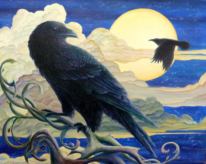 Raven's Moon: Reflections on the Tree of Life - Painting,  24x28 in ©2016 by Victoria Armstrong -                                                            Realism, Canvas, Animals, Raven, ravens, moon, night, tree of life, nighttime, spiritual, flight