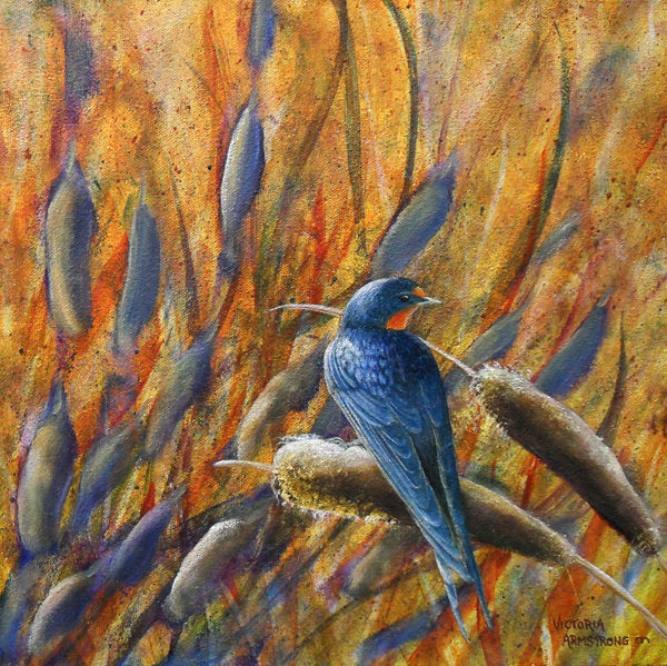 Swallow's Grace - Painting,  12x12 in, ©2015 by Victoria Armstrong -                                                                                                                                                                                                                                                                                                                                                              Figurative, figurative-594, Animals, swallow, barn swall, bullrushes, birds