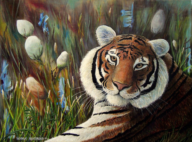 """Painting titled """"Through a Tiger's E…"""" by Victoria Armstrong, Original Art, Acrylic"""