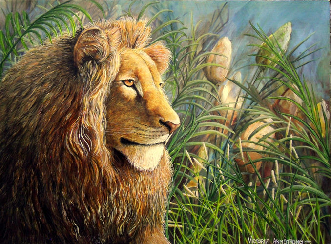 For the Love of Lions - Painting,  18x24 in ©2015 by Victoria Armstrong -                            Wood, lion, lions, africa, uganda