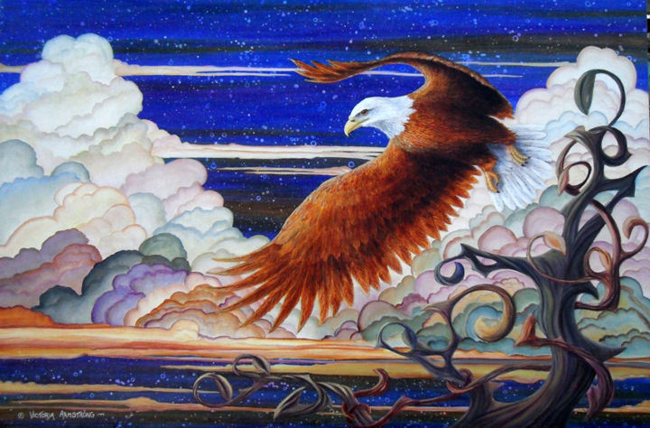 Eagle's Flight: Reflections on the Tree of Life - Painting,  24x36 in, ©2015 by Victoria Armstrong -                                                                                                                                                                                                                                                  Animals, bald eagle, eagle, tree of life, acrylic painting