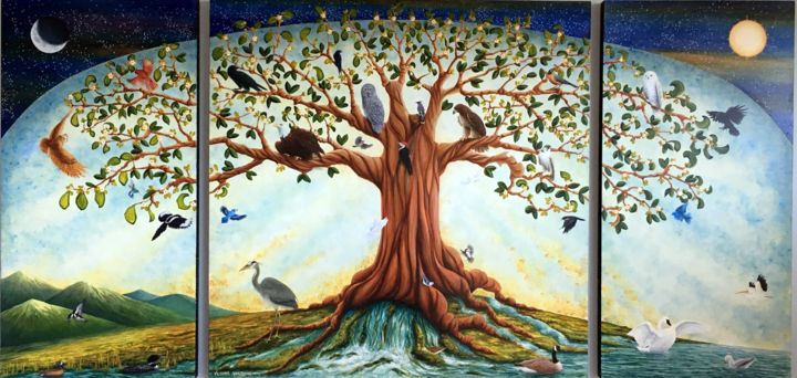 The Tree of Life - mural - Painting,  4x8 fe ©2016 by Victoria Armstrong -                                            Conceptual Art, Spirituality, Tree of Life, Tree, Spiritual, Spirituality, religion, church, mural, acrylic, bird, birds, birds of a feather