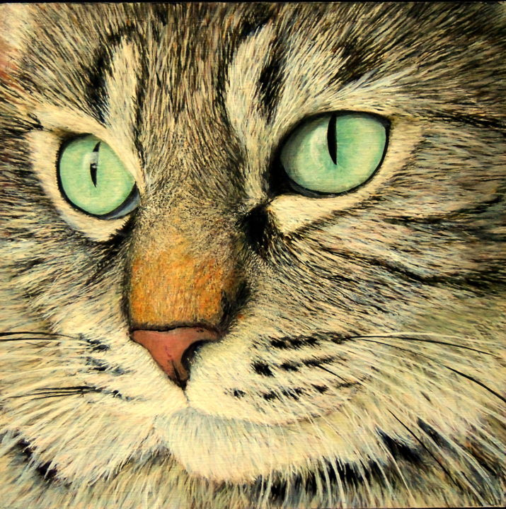 Vignettes: Nala - Painting,  8x8 in ©2016 by Victoria Armstrong -                                                            Realism, Wood, Animals, cat, cats, cat's eyes, eyes, cat painting, tabby cat