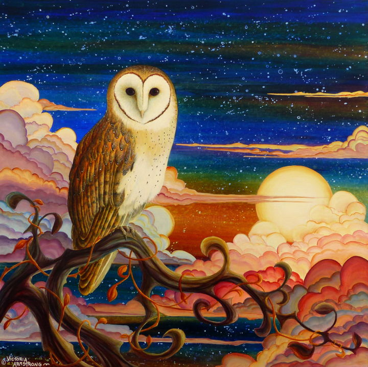 Owl's Vigil II: Reflections on the Tree of Life - Painting,  28x28x2 in ©2017 by Victoria Armstrong -                                                                                                Realism, Canvas, Animals, Birds, Fantasy, Spirituality, owl, barn owl, owls, birds, tree of life, night, clouds, moon, stars, acrylic painting