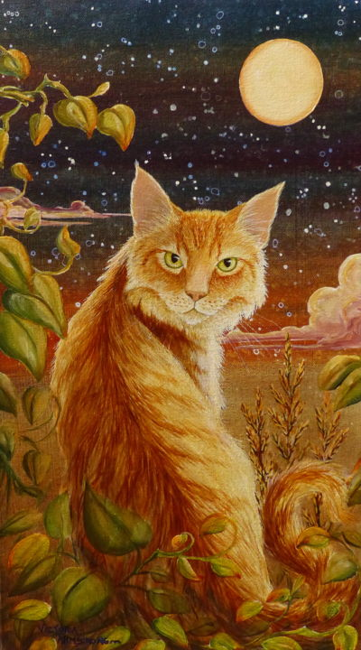 As Night Creeps in on Little Cat Feet I - Painting,  18x10x2 in ©2017 by Victoria Armstrong -                                                                                    Art Nouveau, Canvas, Animals, Cats, Fantasy, cat, cats, moon, mystic, night, stars, acrylic, painting, orange tabby