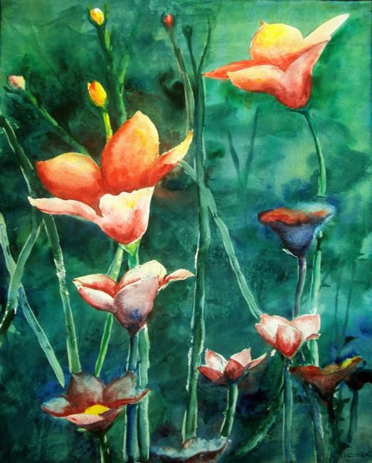 """Painting titled """"Blooming Dawn"""" by Victoria C, Original Art, Oil"""