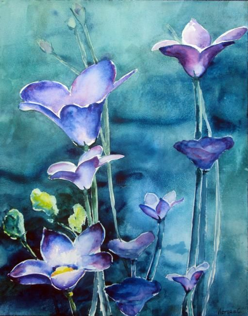 """Painting titled """"Midnight Blue"""" by Victoria C, Original Art, Oil"""