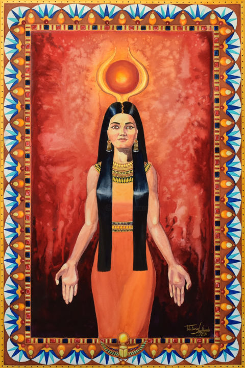 """Painting titled """"Hathor The Golden O…"""" by Victoria Lyashenko, Original Art, Watercolor"""