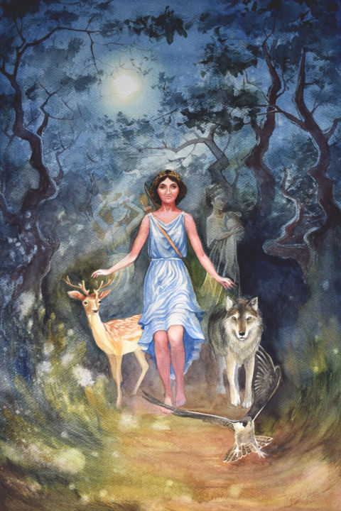 """Painting titled """"Artemis"""" by Victoria Lyashenko, Original Art, Watercolor"""